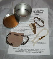 """Deluxe Flint and Steel Fire Starting Kit -Camping-Mountain Man - Survival -""""NEW"""""""