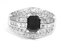 2.06ct Blanc & noir diamant Bague 14k Or Blanc