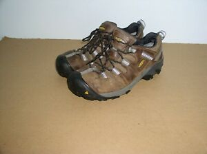 Mens Keen Targhee II Brown Leather Lace Up Athletic Hiking Shoes 10 EE,Very Good