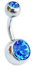 Sapphire Blue Double Jewelled 8mm Belly Button Bar