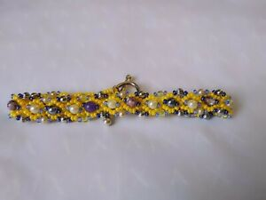 Bracelet Hand Made From Seed & Semi Precious Stone Beads Yellow Silver & Purple