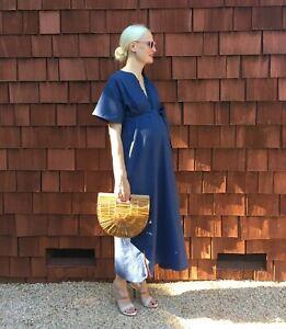 Storq Caftan Maternity Dress Blue Cotton Size Small Midi