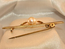 100% Genuine Vintage Solid 9K Yellow Gold ESTATE Natural Pearl Brooch
