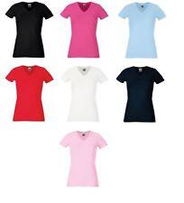 Waist Length Cotton V Neck Regular Size T-Shirts for Women
