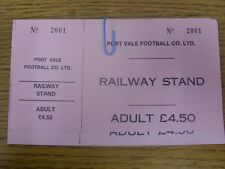 circa 1980's Ticket: Port Vale v Unknown Opposition [Railway Stand Adult Ticket