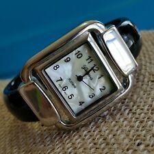 Geneva Platinum Cuff Bracelet Watch 6751 Mother Of Pearl Square Black Silver M31
