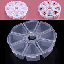 8 Grid Clear Plastic Round Jewelry Bead Organizer Box  Container Storage Case
