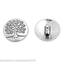Wholesale 50-5000 Lots Silver Tone Metal Buttons Life Tree Sewing 14.5mm.Jewelry