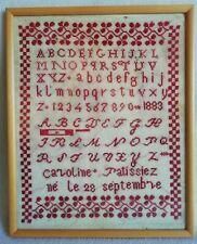 Ancien ABÉCÉDAIRE daté 1883 de Caroline PATISSIEZ né le 28 septembre XIXe