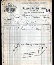 """ANGERS (49) USINE de CORDAGE FICELLES / CHANVRE LIN """"DELAHAYE & BOUGERE"""" en 1894"""