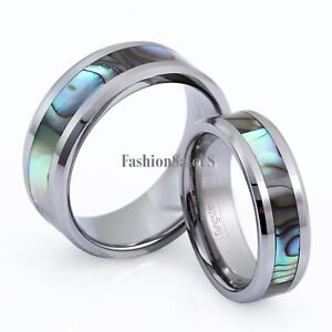 Comfort Fit High Polish Tungsten Carbide Abalone Inlay Men's Women's Rings Band