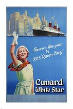 CUNARD LINE white star VINTAGE TRAVEL POSTER steam ship classic 24X36 HOT