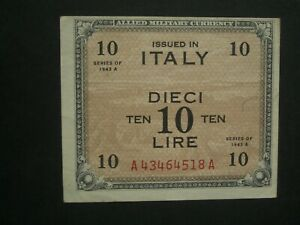 **Scarce Italy 10 Lire A -A 'GVF' Allied  Military 1943 Currency**