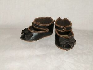 """Leather shoes Jumeau bee style for antique doll size 8 (2,5"""")"""