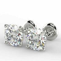 3 Ct Round Cut VVS1/D Diamond Solitaire Stud Earrings 14K White Gold Finish