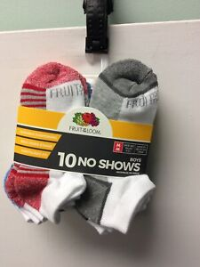 Fruit of the Loom Boys No Show Socks 10 Pack White w/ Color Bottom Medium(9-2.5)