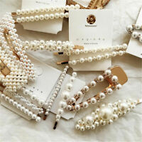 Women Pearl Hair Clip Barrette Comb Stick Hairpin Bobby Claw Hair Accessories