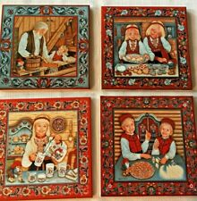 Lot of 4 Norwegian Tile Trivets Rosemaling Suzanne Toftey
