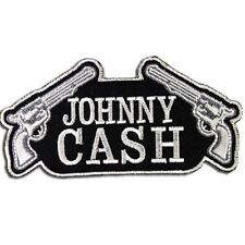 JOHNNY CASH DOUBLE GUNS IRON ON PATCH  -  AMERICANA - GREAT QUALITY - RRP £7.50