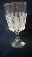 "L.G. Wright Glass Co. ##77-104 ""Frosted Ribbon"" goblet"