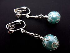Silver Plated Drop Clip On Earrings. A Pair Of Dangly Blue Glass Bead