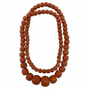 Vintage Coral Bead Necklace w/ GIA Report