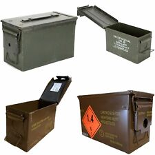More details for genuine military ammo box 50 cal ammunition metal tool storage used army surplus