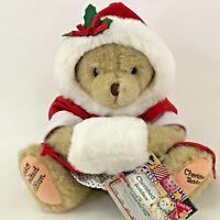 "Cherished Teddies Alice Teddy Bear 12"" Plush Christmas Cozy Warm Wishes Jointed"