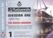 Billete Bolton Wanderers v-Preston North End 28.05.01 pre-partido almuerzo