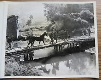WWII BURMA CBI PHOTO - TROOPS of 475th Regt. BYPASS DESTROYED BRIDGE 1944