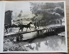 WWII BURMA CBI PHOTO - TROOPS of 475th Regt. BYPASS DESTROYED BRIDGE 1944