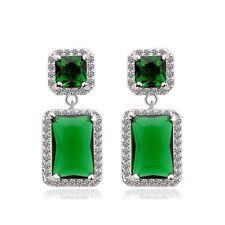 UK Ladies Beautiful Emerald 18KT White Gold Filled Gemstone Party Bridal Earring