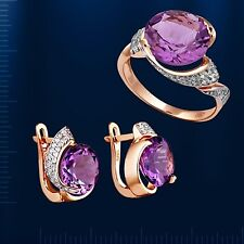 Russische Rose Rotgold 585  Goldset Russisches Amethyst ROSE GOLD SET
