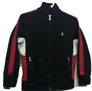 Ralph Lauren Polo Boys Sweater Sweatshirt Size 4/4T Black/red/white Full Zip