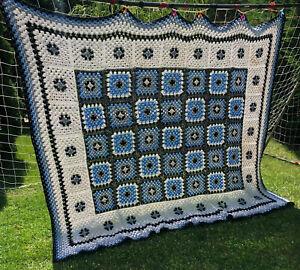 Crocheted Afghan Blanket Throw Black Granny Square 95x72 Blue White Gray HUGE