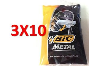 30 BIC METAL Mens Einwegrasierer (3 Packs of 10 Shavers) Versand kostenfrei