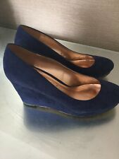 Ladies Navy Wedge Shoes Size 39