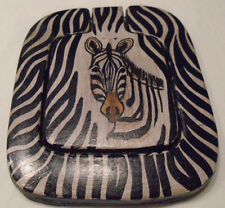 New listing Zebra Pocket Cosmetic Mirror leather-type frame African style flip-up lid Animal