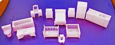 12 piece pink mini doll house fixtures and furniture bed, bath, kitchen, baby