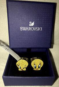 NEW Swarovski Crystals Looney Tunes Tweety Bird Cufflinks Men Women Adult Gold