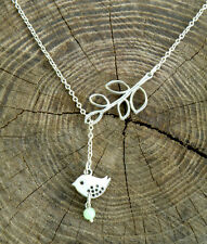 """Sterling silver chain. Lariat Bird and Branch Necklace 20"""". Wedding jewelry"""