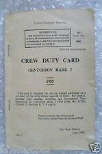 Pamphlet- 1955 Crew Duty Card Centurion Mark 7 by War Officer