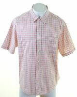 TIMBERLAND Mens Shirt Short Sleeve XL Red Check Cotton  IO03