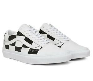 Vans Old Skool Leather Big Checkers Skate Shoes 11.5 White/Black