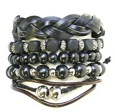 Set Of 5 Bead Cord Leather Surf Surfer Style Bracelets Wristbands Gothic