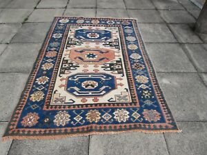 Vintage Worn Traditional Hand Made Turkish Oriental Wool Blue Rug 204x143cm