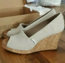 TOMS Classic Wedge Natural Crosshatch Jacquard Linen with Cork Wedge Size 6.5