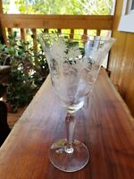 "Vintage 8"" Tall Cut Glass Crystal Wine Goblet With Embossed Flowers"