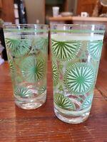 2 Vtg Green Pattern Glasses Ice Tea Tumbler Highball Sunburst/cucumber. M1