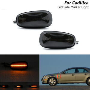 Sequential Smoked Led Fender Side Marker Bliker Light For Cadillac STS STS-V 05-